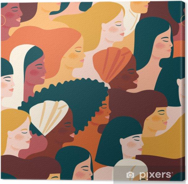 Tableau sur toile Journée internationale des femmes. modèle sans couture de vecteur avec des femmes de différentes nationalités et cultures. - Personnes