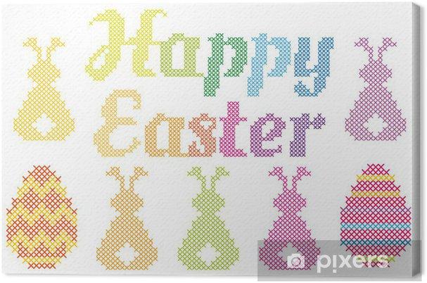 Tableau sur toile Joyeuses Pâques point de croix, vecteur - Fêtes