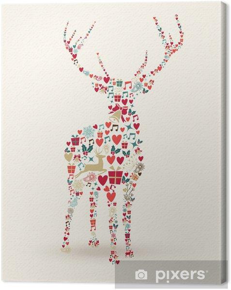 Tableau sur toile Joyeux Noël cerfs illustration - Fêtes internationales