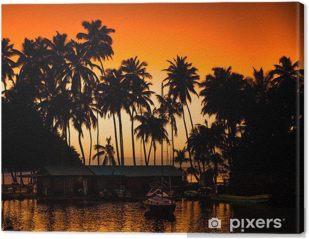 Tableau sur toile Karibik Palmen Sonnenuntergang - Amérique