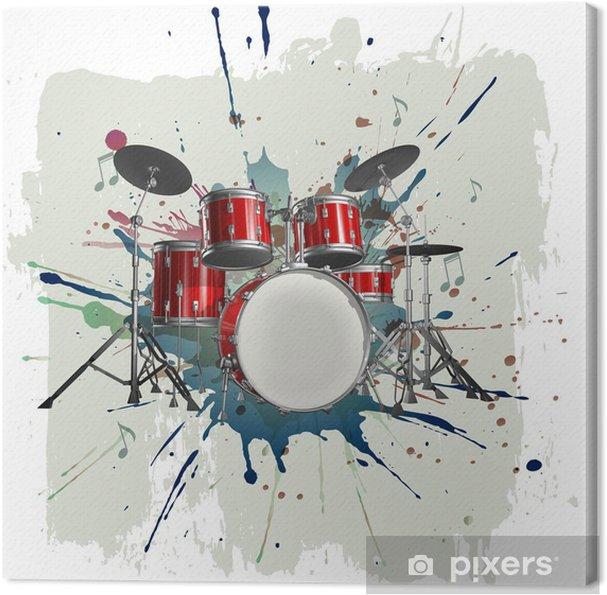 Tableau sur toile Kit de batterie sur le fond grunge - Jazz