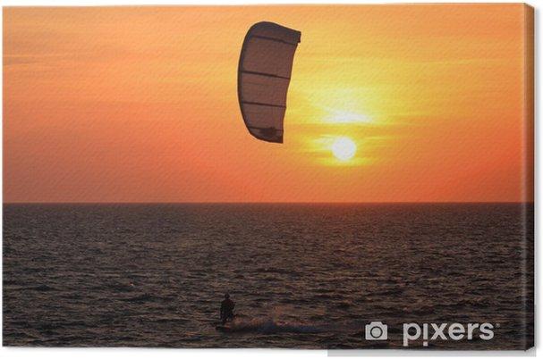 Tableau sur toile Kite surf au coucher du soleil - Sports aquatiques