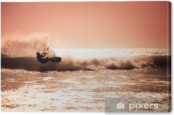 Tableau sur toile Kite surf dans les vagues. - Sports aquatiques