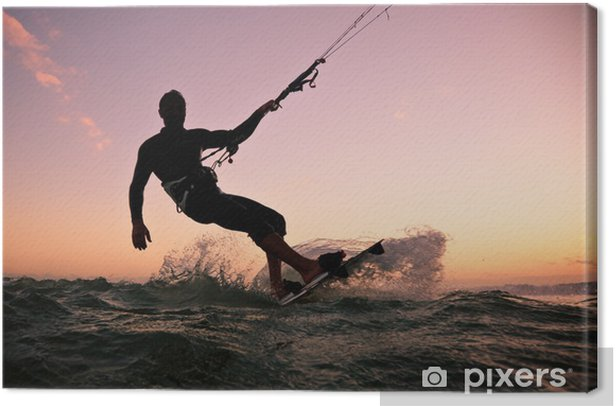 Tableau sur toile Kite surf. Kitesurf freestyle -