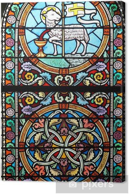 Tableau sur toile L'Agneau de Dieu sacrifier (de vitrail) - Bâtiments publics