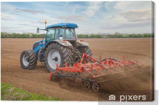 Tableau sur toile L'agriculture à petite échelle avec tracteur et charrue dans le champ - Industrie