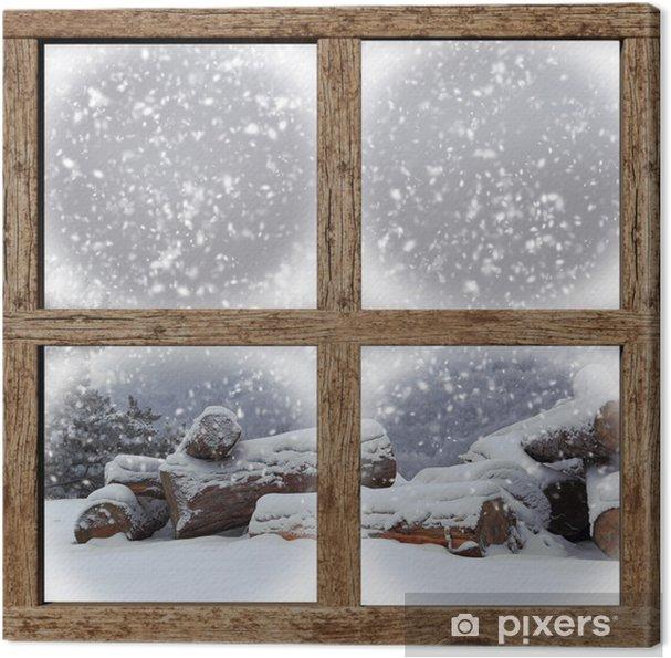 Tableau sur toile L'extérieur d'hiver voir avec la pile de bois de chauffage de fenêtre en bois - Thèmes