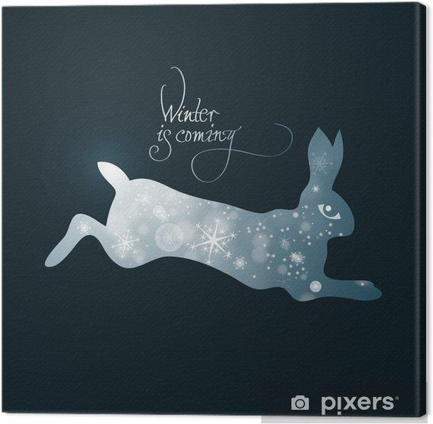 Tableau sur toile L'hiver arrive / Illustration féerique de lapin plein de neige - Fêtes internationales