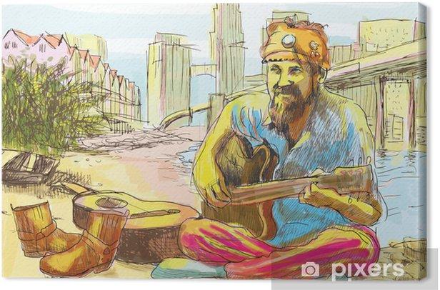 Tableau sur toile L'homme de hippie barbu jouer de la guitare (dessin dans le vecteur) - Musique