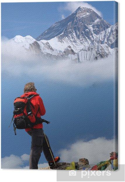 Tableau sur toile L'homme en face du mont Everest, au Népal - Asie