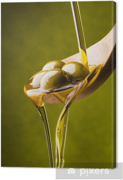 Tableau sur toile L'huile d'olive avec le fond vert - Olives