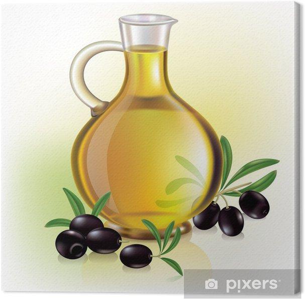 Tableau sur toile L'huile d'olive et les olives - Olives
