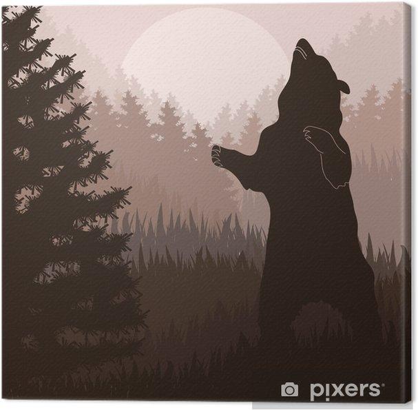Tableau sur toile L'ours brun dans le feuillage de la forêt sauvage - Thèmes