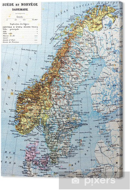 Carte Norvege Suede.Tableau Sur Toile La Carte De La Suede De La Norvege Et Du Danemark