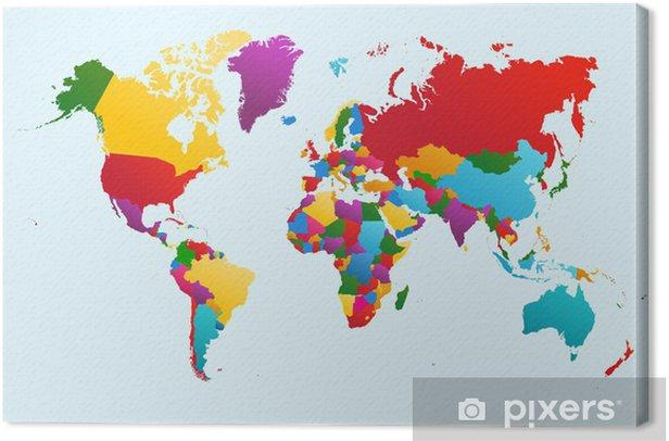 Tableau sur toile La carte du monde, les pays illustration colorée fichier vectoriel EPS10. -
