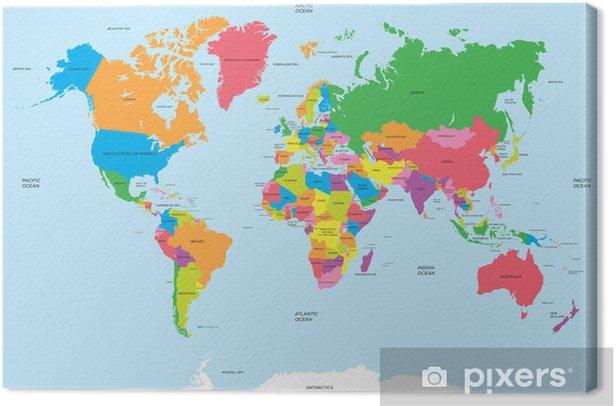 Tableau sur toile La carte politique du vecteur du monde - Thèmes