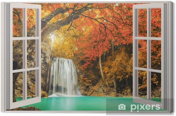Tableau sur toile La fenêtre ouverte, avec vue sur la cascade - Thèmes