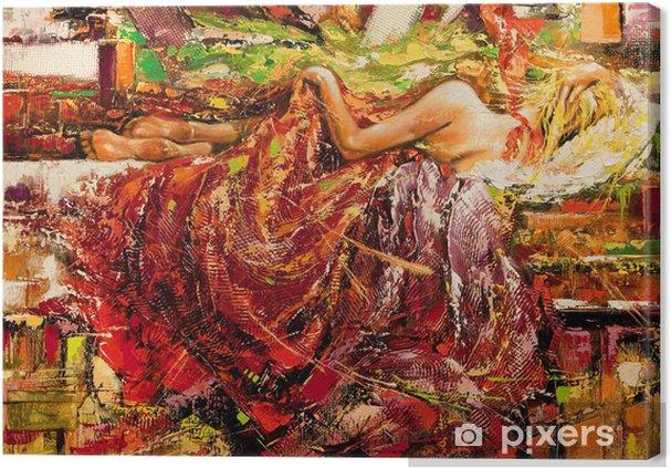 Tableau sur toile La fille de dormir dessinée par l'huile sur une toile - Styles