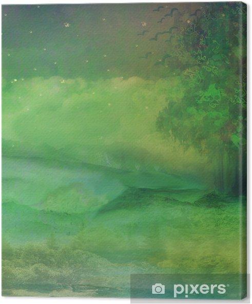 Tableau sur toile La forêt de nuit en montagne - Merveilles naturelles