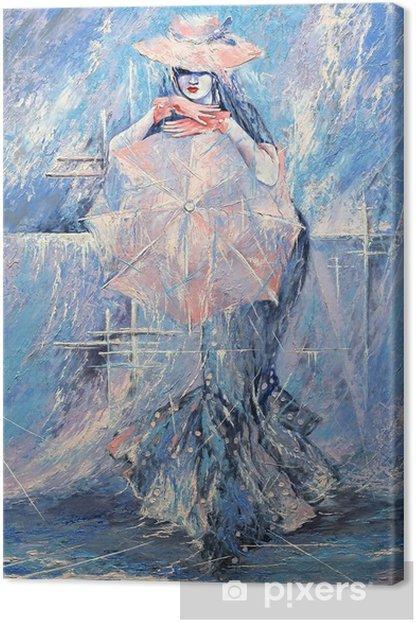 Tableau sur toile La jeune fille avec un parapluie -