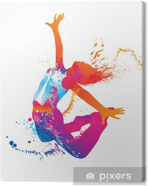 Tableau sur toile La jeune fille danse avec des taches colorées et éclaboussures sur fond blanc - Destin