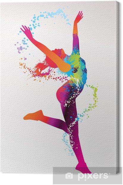 Tableau sur toile La jeune fille danse avec des taches colorées et éclaboussures sur un bac de lumière -