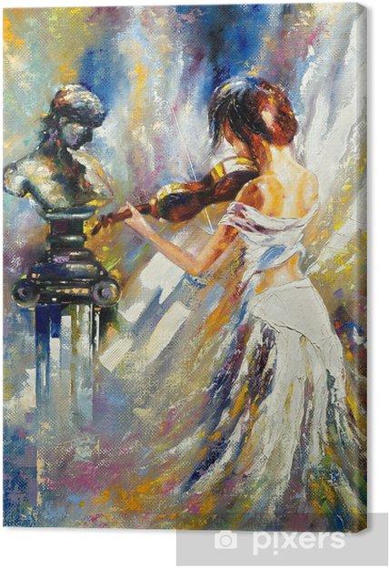 Tableau sur toile La jeune fille joue du violon - Styles
