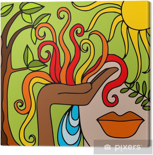 Tableau sur toile La main avec le feu - Forêt