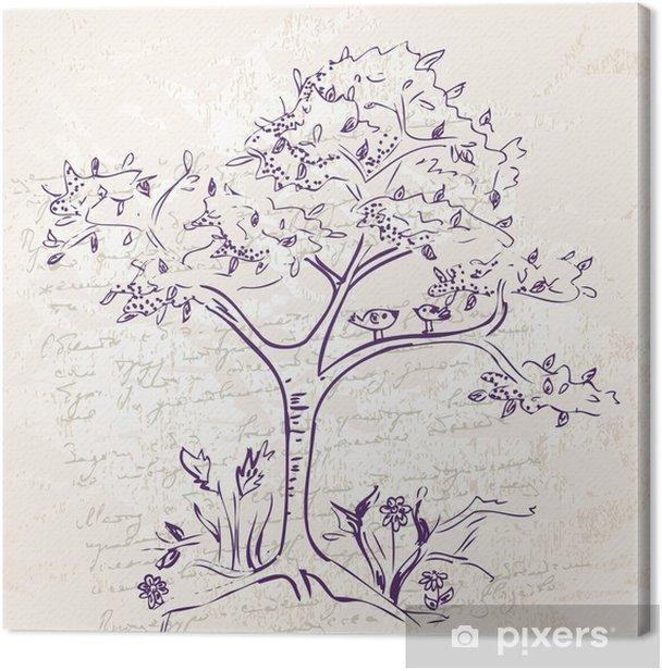 Tableau sur toile La main-dessin doodle arbre - Art et création