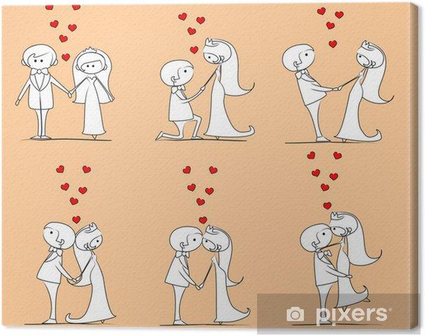 Tableau sur toile La mariée et le marié dans l'amour, vecteur - Couples