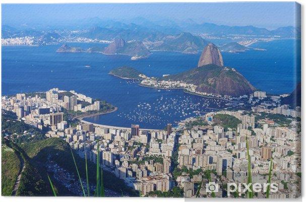 Tableau sur toile La montagne du Pain de Sucre et Botafogo à Rio de Janeiro - Brésil
