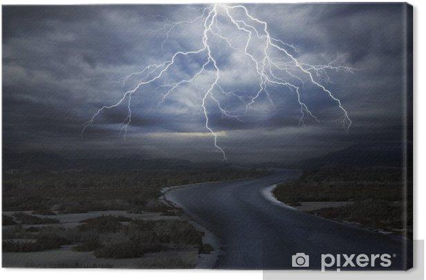 Tableau sur toile La route sous la foudre - Ciel