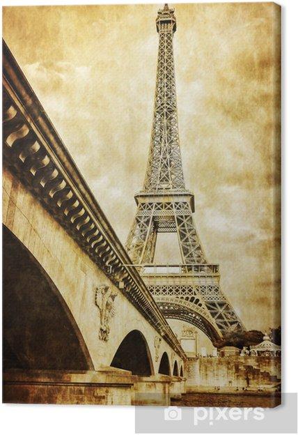 Tableau sur toile La tour Eiffel vue rétro cru de Seine, Paris - Thèmes