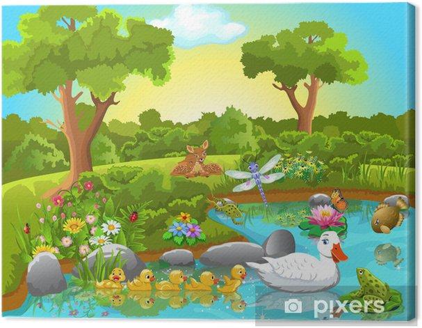 Tableau sur toile La vie des animaux sur l'étang - Pour enfant de 5 ans