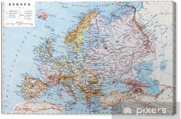 Tableau sur toile La vieille carte de l'Europe planisphérique - Thèmes