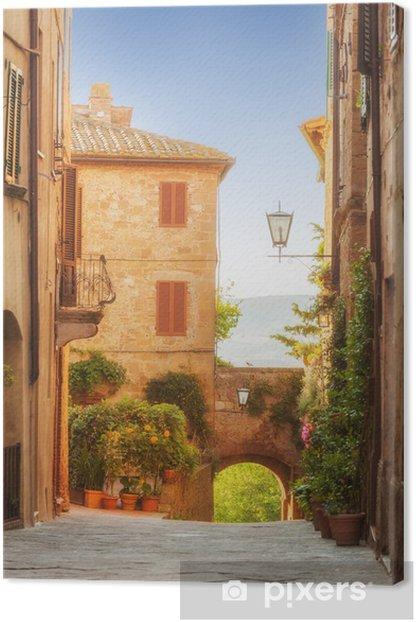 Tableau sur toile La vieille ville et les rues de la période médiévale Pienza, Ital - Vacances
