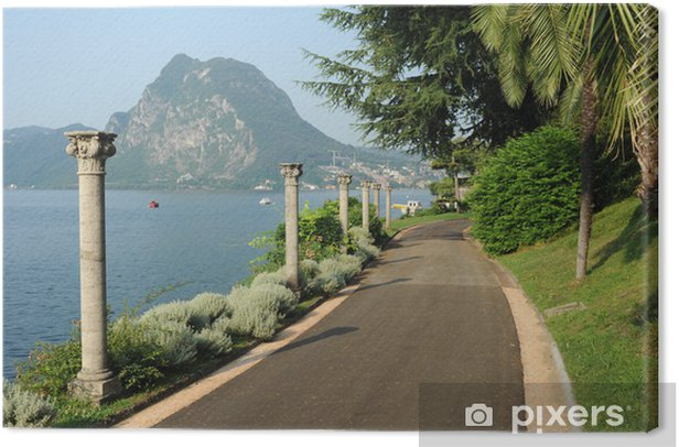 Tableau sur toile La villa parc Heleneum sur le lac de Lugano en Suisse - Europe