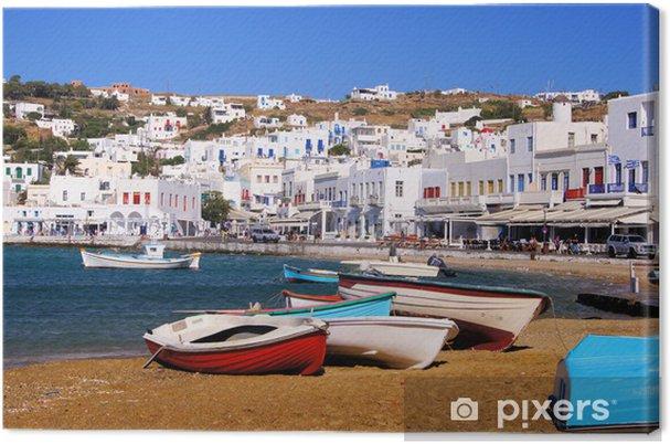 Tableau sur toile La ville de Mykonos, vue sur le port, la Grèce - Thèmes