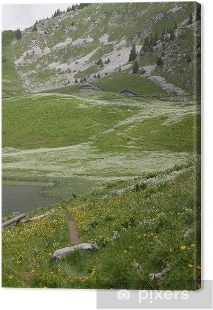 Tableau sur toile Lac d'Arvouin dans les Alpes et savoie - Europe