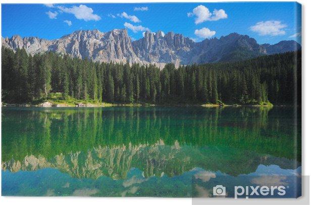 Tableau sur toile Lac de Carezza Peaks Latemar - Montagne