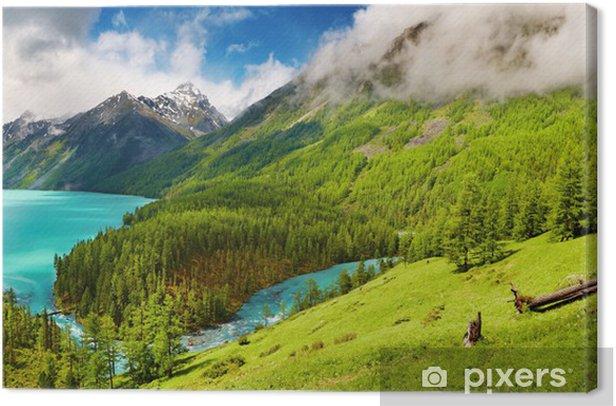 Tableau sur toile Lac montagne - Ciel
