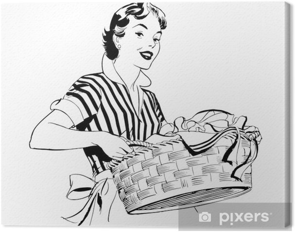Tableau sur toile Lady With Laundry Basket - Maisons et jardins