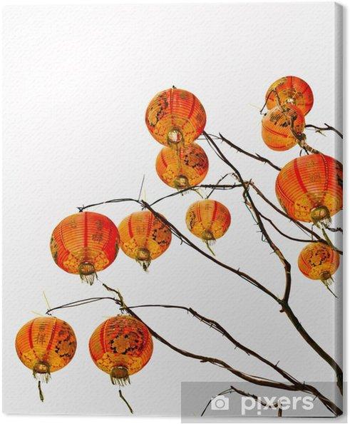 Tableau sur toile Lanterne chinoise sur un fond blanc - Culture et religion