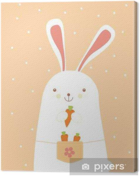Tableau sur toile Lapin avec des carottes - Animaux