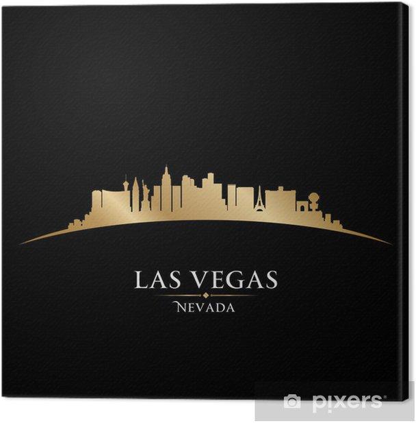 Tableau sur toile Las Vegas Nevada City skyline silhouette fond noir - Las Vegas
