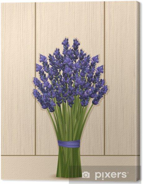 Tableau sur toile Lavande bouquet sur un fond en bois - Fleurs