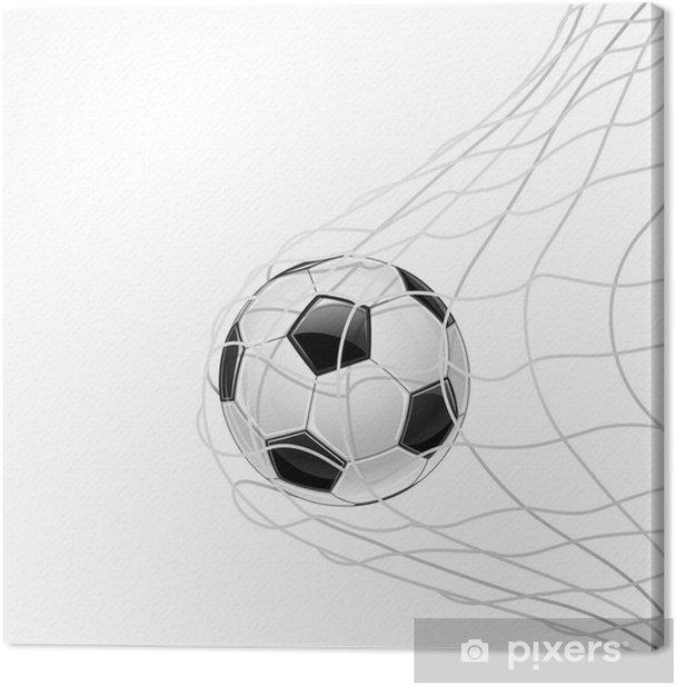 Tableau sur toile Le ballon de football dans la grille isolée. Vecteur - Matchs et compétition