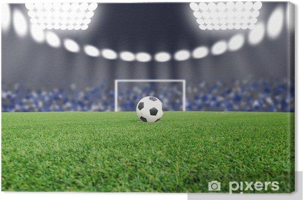 Tableau sur toile Le ballon de football sur le terrain dans le stade pendant la nuit - Autres sentiments