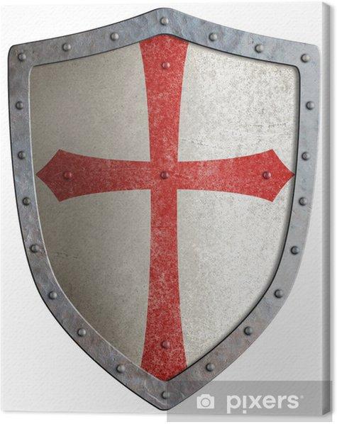 Tableau sur toile Le bouclier de métal de chevalier templier ou croisé isolé - Signes et symboles