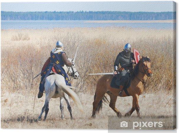 Tableau sur toile Le chevalier de cheval dans une armure et un casque - Asie